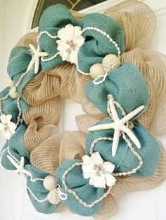 Hey, I found this really awesome Etsy listing at https://www.etsy.com/listing/192470148/deco-mesh-and-burlap-beach-themed-wreath