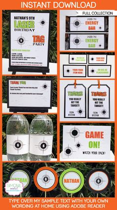Type your own text into this green & orange Laser Tag Party Invitations & Decorations set. Includes all the printables you need for a Laser Tag Laser Tag Birthday, Laser Tag Party, Birthday Tags, 10th Birthday, Birthday Parties, Lazer Tag Birthday Party, Birthday Ideas, Birthday Stuff, Tea Parties