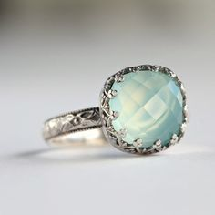 Aqua Chalcedony Cocktail Ring in Sterling Silver by ThirtySixTen, $94.00
