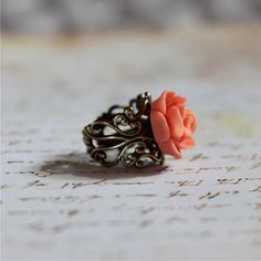beautiful adjustable flower ring. Perfect sweet little gift for a girlfriend. Comes with boutique packaging ready to gift! ONLY $14! Oliver & Lily - etsy
