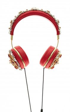Dolce & Gabbana Red Embroidered Nappa Leather Headphones Fall 2015