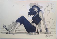 Death on holiday, from Neil Gaiman's Sandman series. Art by Terry Dodson.
