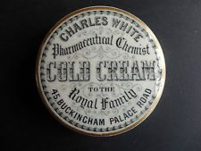 ORIGINAL ANTIQUE POT LID CHARLES WHITE COLD CREAM TO THE ROYAL FAMILY PALACE RD
