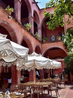 Restaurant at Posada Carmina Hotel by Maryann's*****Fotos on Flickr. San Miguel de Allende, Mexico San Miguel de Allende