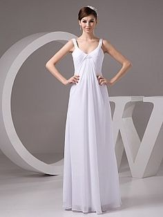 Sequined Scoop Neckline Column Chiffon Bridal Dress - USD $119.00