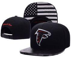 f1b9922a544 Atlanta Falcons Black Snapback Hats Brim Leather Under Flag Logo cheap for  sale