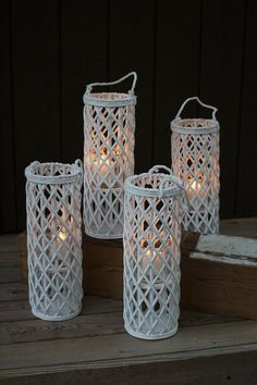 Tall White Willow Lantern with Glass Insert Recycled Paper Crafts, Newspaper Crafts, Tall Lanterns, Candle Lanterns, Lantern Diy, Glass Candelabra, Ceramic Lantern, Paper Weaving, Diy Home Crafts