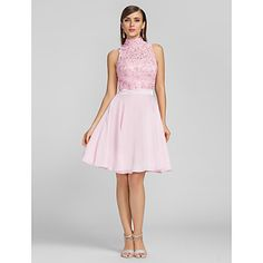 TS Couture® Cocktail Party / Prom /  Dress - Blushing Pink Plus Sizes / Petite A-line High Neck Knee-length Chiffon / Lace – GBP £ 55.99