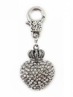 Damen Charm Herz- Krone mit Strass, silber von Fashion Jewelry bei www.meinkleidchen.de