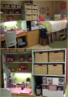 20 Amazing Ole Miss Dorm Rooms for Major Dorm Décor Inspiration Decorating your room is an important aspect of dorm life. Here are some really cute Ole Miss dorm rooms to get some serious inspiration from! College Dorm Desk, College Dorm Storage, Dorm Room Desk, Dorm Room Closet, Dorm Room Storage, Dorm Room Organization, Desk Storage, Storage Ideas, College Closet