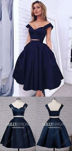 326deacb814 A-line Off-the-shoulder Satin Tea-length Dark Navy Two Piece Modern Prom  Dresses