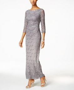 Look elegant from head-to-toe in Jessica Howard's gorgeous column gown graced with sequined lace and subtle draping. A slit at back keeps things moving. | Lace and lining: polyester | Professional spo
