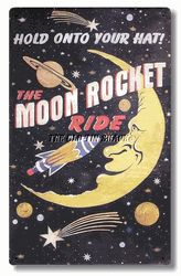 Moon Rocket Ride vintage tin sign