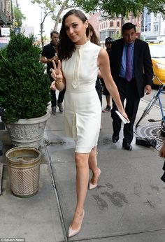 Out and about: On Tuesday, Gal Gadot was spotted in a sexy little white dress and white pumps as she turned up at a lunch to launch Gucci's new perfume at the Bowery Hotel in New York's Soho district