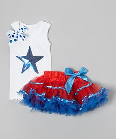 This White & Blue Star Tank & Red Pettiskirt - Infant, Toddler & Girls by So Girly & Twirly is perfect! #zulilyfinds