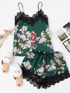 Multicolor Sexy Floral Print Lace Trim Spaghetti Strap Cami Top And Knot Front Shorts PJ Set Summer Women Casual Nightwear Material: Polyester Style: Sexy Decoration: Knot, Contrast Lace Season: Summer Cami Tops, Ropa Interior Babydoll, Pj Sets, Green Fashion, Mode Style, Lace Sleeves, Nightwear, Fashion News, Fashion Fashion