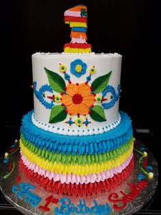Fiesta First Birthday 90 Birthday, Mexican Birthday Parties, 90th Birthday Parties, First Birthday Cakes, Birthday Ideas, Frida Kahlo Party Decoration, First Birthdays, Cake Recipes, Party Ideas