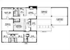 Modern Style House Plan - 3 Beds 2.5 Baths 1936 Sq/Ft Plan #449-10 Floor Plan - Main Floor Plan - Houseplans.com