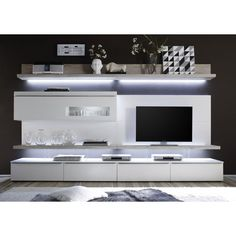 Mari Living Room Set 1 In White Matt And Oak With LED Lights