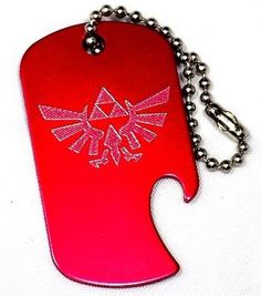 "Zelda Game Red Key Chain With 4"" Chain Dog Tag Aluminum Bottle Opener EDG-0011"