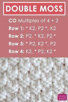 Double Moss Knit Stitch Pattern Written Instructions with Video Tutorial by Studio Knit #StudioKnit #knitstitchpattern #knittingstitches #howtoknit #knittingpattern