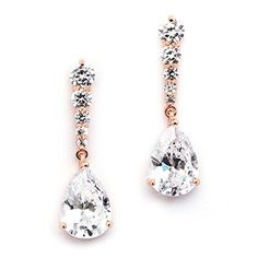 Mariell Rose Gold Plated PearShaped Cubic Zirconia Teardrop Earrings for Brides Proms  Bridesmaids ** Click on the image for additional details. Note:It is Affiliate Link to Amazon.