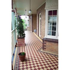 Red and Cognac classic checkerboard floor tiles by Winckelmans bringing a bit of color while nicely tying in with the brickwork. Tiled Hallway, Hallway Flooring, Porch Flooring, Kitchen Flooring, Tile Flooring, Flooring Ideas, Victorian Porch, Victorian Tiles, Tiles Uk