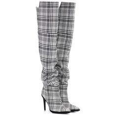 Off-White Plaid Over-the-Knee Boots (€1.030) ❤ liked on Polyvore featuring shoes, boots, heels, zapatos, multicoloured, multicolor boots, over-the-knee boots, above-knee boots, plaid boots and over-knee boots