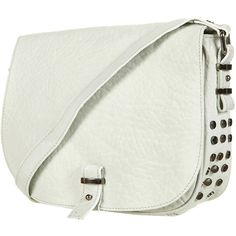 Merino Stud Cross Body Bag ($60) ❤ liked on Polyvore featuring bags, handbags, shoulder bags, purses, carteras, sacs, white, purse shoulder bag, white shoulder bag and crossbody shoulder bags
