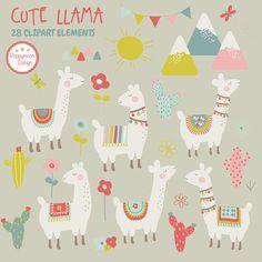Cute llamas cactus and mountains printable digital clipart Alpacas, Llama Clipart, Vector Clipart, Paper Toy, Cute Llama, Art File, Elements Of Art, Doodles, Illustrations