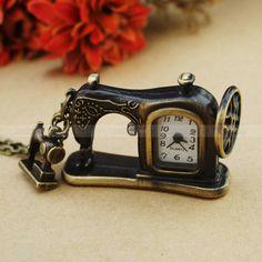 Antique Sartorius Pocket  Watch Necklace -Vintage Sewing Machine Necklace. $4.99, via Etsy.