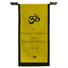 Cotton Om Symbol and Mahatma Gandhi Quote Scroll, Handmade in Indonesia, Yellow Truth Symbol, Om Symbol, Mantra, Namaste, Photography Tattoo, Kundalini Meditation, Unknown Quotes, Mahatma Gandhi Quotes, Healthy Quotes