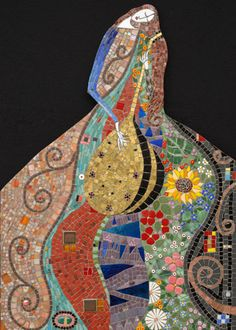 "Serenading Gustav 24"" x 33"" glass, porcelain, millefiori, gold dichroic glass 2004"