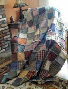 Bits and Pieces: Rag Quilt made with the AccuQuilt GO! Flannel Rag Quilts, Plaid Quilt, Puffy Quilt, Rag Quilt Patterns, History Of Quilting, Homemade Quilts, Denim Crafts, Textiles, Shirt Quilt