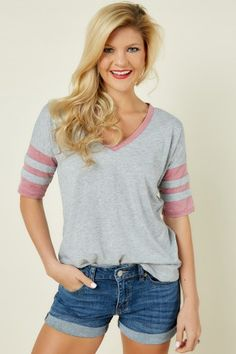 Z Supply Outfielder Tee In Heather Grey And Blossom Rose at reddressboutique.com
