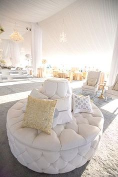 White wedding lounge // Engage!13: Great Gatsby Wedding Theme // engage13.com at the Biltmore Estate http://www.biltmore.com/