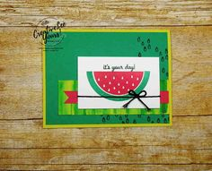 Stampin' Up! One in a Melon by Wendy Lee, Stampin Up, stamping, rubber stamps, handmade card, June 2017 paper pumpkin kit, July 2017 FMN bonus card