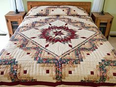 Lone Star Log Cabin Quilt -- magnificent skillfully made Amish Quilts from Lancaster (hs6651)