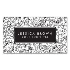 Custom Vintage line art Business Card Template by PrintItAll.  The design features beautiful black contour lines of flowers, the background is white and the contrast is amazing.  The design is perfect fit for womens who likes the modern vintage look.