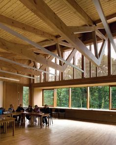 Grizedale, Sutherland Hussey Architects, timber shingle, clerestory glazing, timber frame structure, natural landscape, stone, community hall