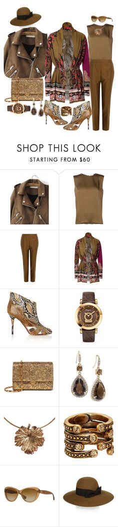 """""""She keeps coming up  on top of her own missteps"""" by blujay1126 ❤ liked on Polyvore featuring WithChic, Maison Rabih Kayrouz, Jaeger, Etro, Alberto Moretti, Salvatore Ferragamo, Michael Kors, Carolee, Madina Visconti di Modrone and Oscar de la Renta"""