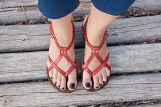 Sandalias de cuero rojo rojo sandalias zapatos de por BangiShop