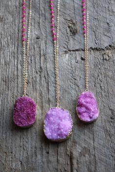 Gold Edged Magenta Druzy Stone Necklace with by JESDesignStudio
