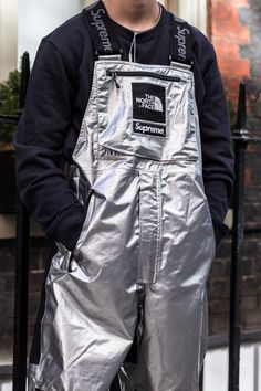 Supreme The North Face Metallic Collection 2018 Street Styles Dungarees, Overalls, The North Face, Fashion Face, London Fashion, Supermodels, Supreme, Nike Jacket, Motorcycle Jacket