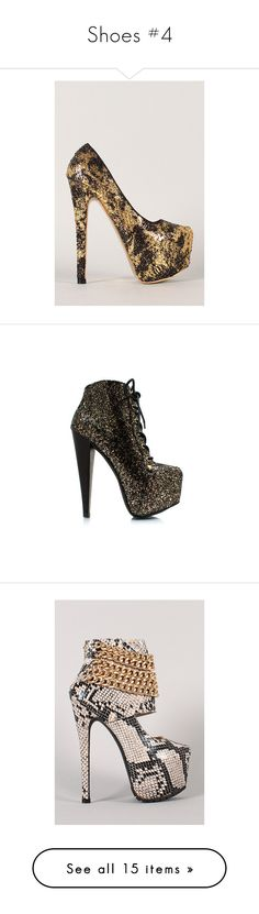 """""""Shoes #4"""" by sndrita ❤ liked on Polyvore featuring shoes, pumps, black pumps, black almond toe pumps, sequin pumps, gold sequin pumps, gold shoes, boots, ankle booties and ankle boots"""