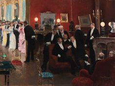 https://flic.kr/p/NXnpgW | Jean Beraud - The Reception | [Private Collection - Oil on canvas, 26.6 x 53.2 cm]