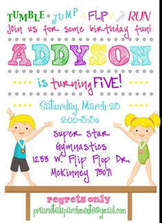 Gymnastics Birthday Party Invitations Which Can Be Used As Extra Chic Invitation Design Ideas 211120161