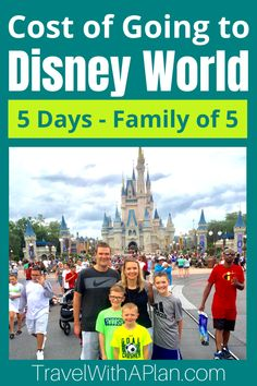 Get our total, itemized cost of going to Disney World for our family of five in 2020.  Our Disney cost calculator will help you determine how much to budget for your Disney vacation and will let you know how much to plan on spending!  #disneyplanningtips #costofDisneyWorld #DisneyWorldcost #Disneytips #Disneyvacation #familytravel