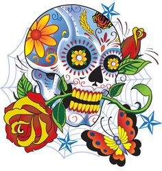 Day of the Dead Decal Rockabilly Rock Vintage Sugar Skull Sticker This is a Skull sticker in full color. It is made of vinyl. The decal measurements is X Sugar Skull Tattoos, Sugar Skulls, Candy Skulls, Caveira Mexicana Tattoo, Sugar Skull Artwork, Coloring Book Art, Flower Skull, Skull And Bones, Day Of The Dead