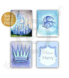 Castle Wall Art Royal Prince Crown Dragon Custom Name Baby Nursery Art, Baby Boy Nurseries, Baby Room, Prince Crown, Royal Prince, Art Wall Kids, Art For Kids, Prince Nursery, Castle Wall